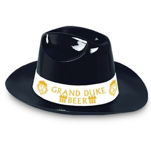 6fda8d046c15c Black Plastic Cowboy Hat w  Custom Printed Paper Band - 66741IBNDPC - IdeaStage  Promotional Products