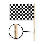 Plastic Checkered Flag w/ a Custom Direct Pad Print on the Dowel