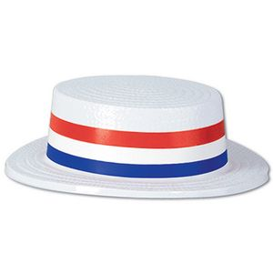 Custom White Plastic Skimmer w/ Red/White/Blue Band
