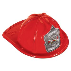 Custom Red Plastic Jr Firefighter Hats (CLEARANCE)