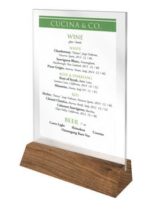 Hands free, solid walnut menu holder with 4 X 6 Vertical U-bend Acrylic Insert