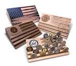 Custom Solid wood, flag shaped medallion stand with laser engraving or full color UV printing.