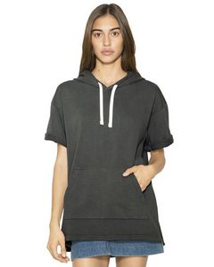 Custom American Apparel Unisex French Terry Garment-Dyed Kangaroo Pocket Short-Sleeve Hooded Sweatshirt