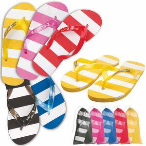 Custom Imprinted Striped Flip Flops!