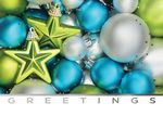 Custom Blue & Green Ornaments Holiday Greeting Card