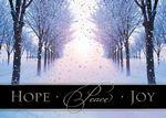 Custom Silver Hope, Peace and Joy Holiday Greeting Card