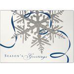 Custom Silver Snowflake & Blue Ribbon Holiday Greeting Card