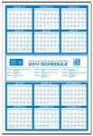 Custom Jumbo Year-at-a-Glance Commercial Wall Calendar w/ Middle Ad
