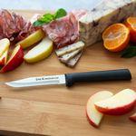 Custom Serrated Regular Paring Knife - Black Stainless Steel Resin Handle
