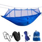 Custom Widened Parachute Fabric Double Hammock With Mosquito Bug Net