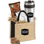 Custom Tumbler with Coffee, Tea, & Cookies Gift Tote