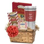 Custom Holiday Cocoa & Cookie Basket with Travel Tumbler