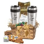 Custom Tea, Cookies basket with 2-Tumblers