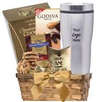 Custom Cocoa & Cookie Basket with Travel Tumbler