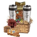 Custom Coffee & Cookie Basket with 2-Travel Tumblers