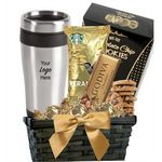 Custom Coffee & Cookie Basket with Travel Tumbler