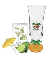 Hurricane Cup with Cocktail Mix & Umbrella Straw