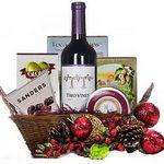 Custom Holiday Wine Gift Basket