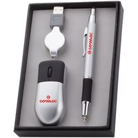 Sabre LED Stylus Ballpoint Pen & USB Optical Travel Mouse Gift Set