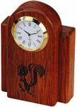 Custom Rosewood Desk Clock w/Gold Bezel