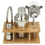 Custom Stainless Steel Shaker Set in Bamboo Stand