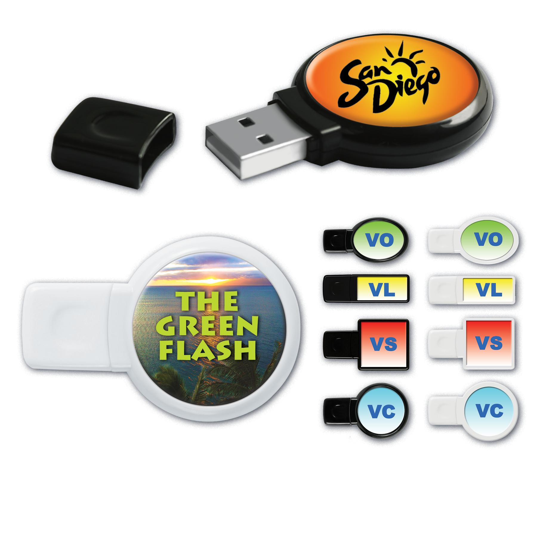 USB 2.0 View Drives™ VS Round Flash Drive w/ VibraColor® Epoxy Dome (16 GB)
