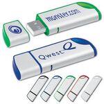 Custom USB 2.0 Metallic Flash Drive MJ w/ Curved Ends (4 GB)