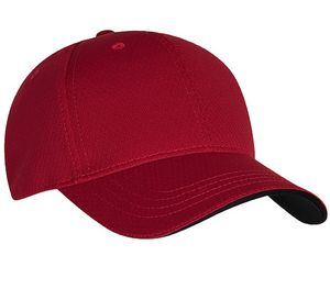 5f834ea5801 Structured Honey Comb Knit Baseball Cap (Red Black Trim) - 4075-019 -  IdeaStage Promotional Products