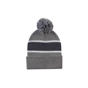 b20ab8880e0 Striped Beanie w Cuff   Pom (Gray Charcoal White) - 4875-357 - Swag Brokers