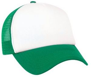 Color Blocked Foam Trucker Mesh Cap (White Kelly Green) - 8785 - IdeaStage  Promotional Products c7a01d65750