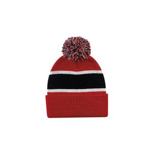 af2a53e9f3a07c Striped Beanie w/Cuff & Pom (Red/Black/White) - 4875-358 - IdeaStage  Promotional Products