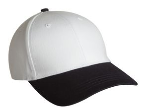 Promotional Product - Structured Brushed Cotton Twill Cap w/Contrasting  Visor & Button (White/Navy)