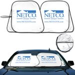 Custom Prest - O - Shade 2 Collapsible Fabric Auto Sun shade White Front Patented Pivot System