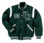 Custom The Winner Custom Wool Varsity Jacket w/1-Color Leather Shoulder Insert & Leather Sleeves