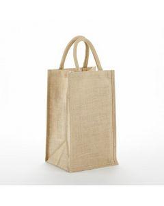 Custom 2 Bottle Jute Wine Bag Size 8W x 14H x 4D Imprint Area 4W x 9H