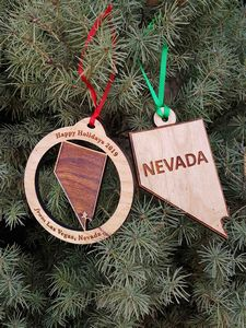 Custom Printed Nevada State Shaped Ornaments