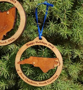 Custom Imprinted North Carolina State Shaped Ornaments