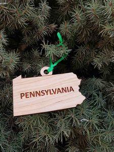 Custom Printed Pennsylvania State Shaped Ornaments