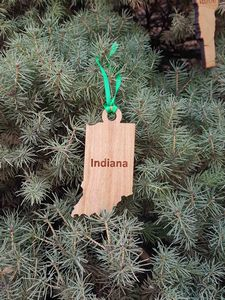 Custom Printed Indiana State Shaped Ornaments