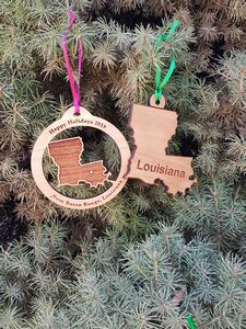 Custom Imprinted Louisiana State Shaped Ornaments