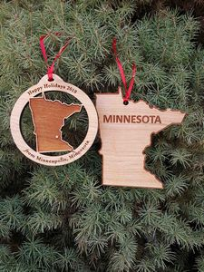 Custom Imprinted Minnesota State Shaped Ornaments