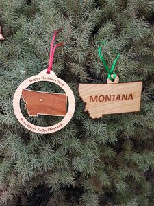 Custom Imprinted Montana State Shaped Ornaments