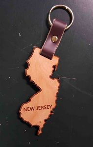 2 - New Jersey Engraved Hardwood Keychains - USA-Made