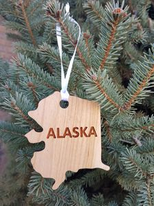 Custom Imprinted Alaska State Shaped Ornaments