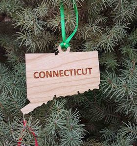 Custom Printed Connecticut State Shaped Ornaments