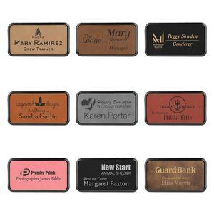 15 X 3 Premium Leatherette Name Tags Or Badges Rectangular