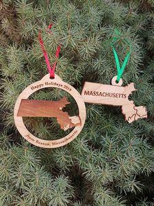 Custom Printed Massachusetts State Shaped Ornaments