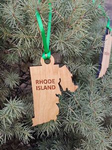 Custom Imprinted Rhode Island State Shaped Ornaments