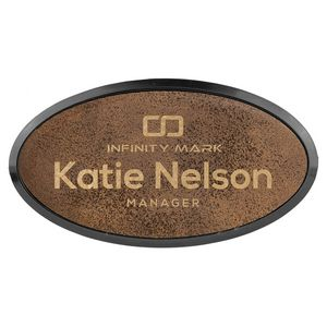 15 X 3 Premium Leatherette Name Tags Or Badges Oval Laser