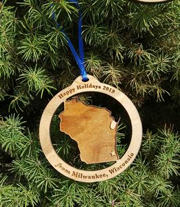 Custom Printed Wisconsin State Shaped Ornaments
